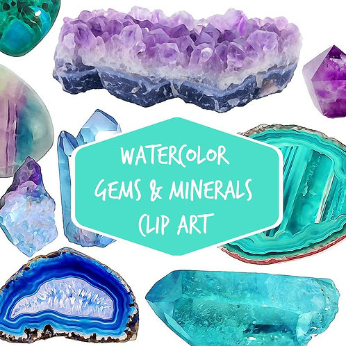 Gemstone Digital clip art 29 watercolor gems minerals agate slices clipart quartz crystal clip art amethyst crystal point gem