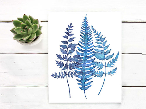 Watercolor fern, blue fern, fern art print, printable art, art to print and frame