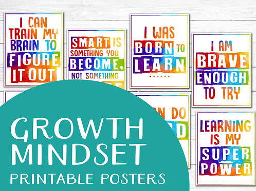 Growth mindset watercolor rainbow printable posters classroom