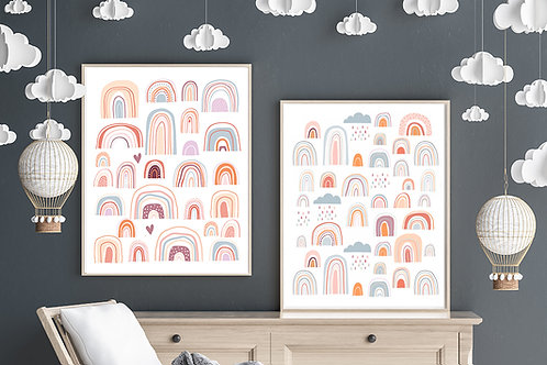 printable modern rainbow posters, terracotta neutral rainbow art