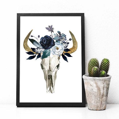 Bull skull, art print, wall art, watercolor skull, navy flowers