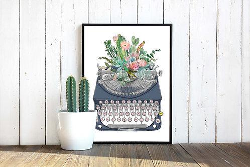 cactus, watercolor, typewriter, printable art, botanical art, instant download