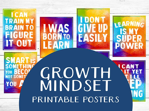 Growth mindset classroom printable posters watercolor rainbow