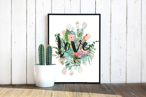 Cactus watercolor love typography printable art to print and frame