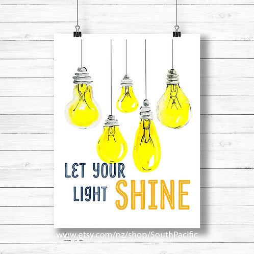 let your light shine inspiration motivation yellow wall art printable