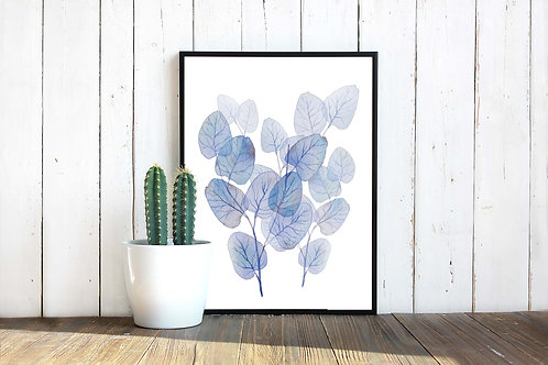 Blue Watercolor eucalyptus leaves | botanical decor | Printable art