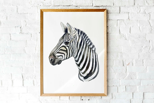 living room art, zebra watercolor printable, zebra face animal art print