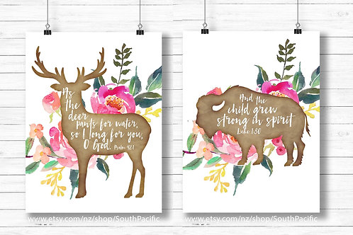 watercolor flowers Nursery prints set of two, Psalm 42:1 and Luke 1:80, Bison and deer, girls room decor
