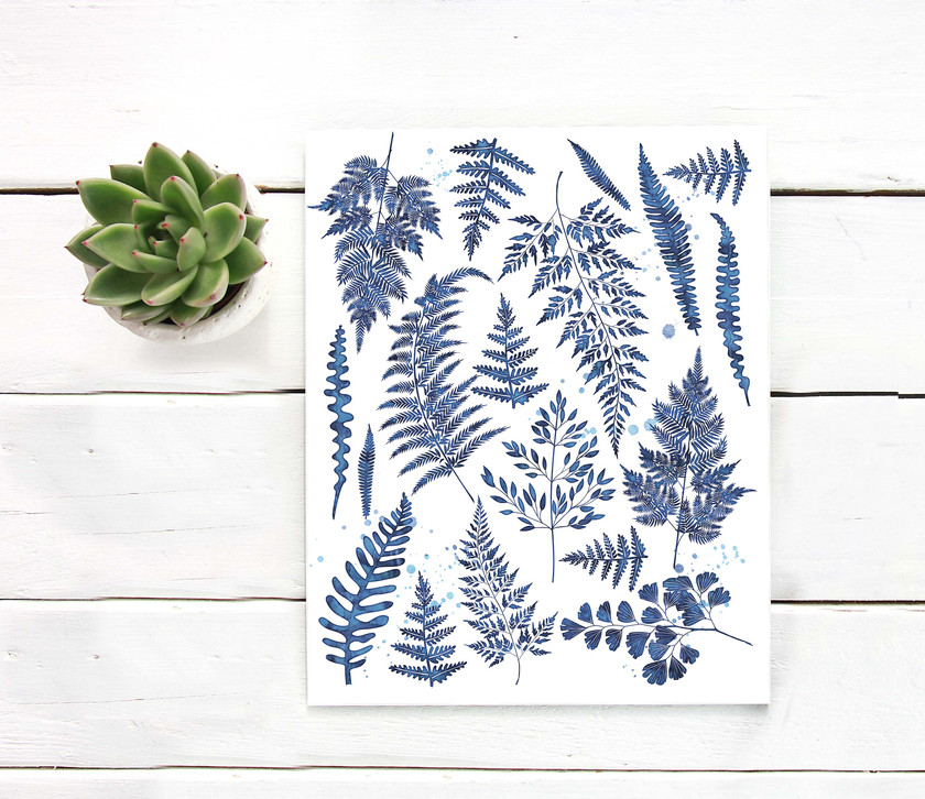 ferns, ink, indigo, hand painted, watercolor ferns, gallery wall, printable art, south pacific prints, digital art, instant download, wall art, instant art, scripture, watercolor