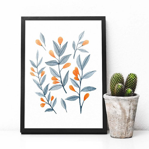 Watercolor botanical abstract   orange berries   printable art