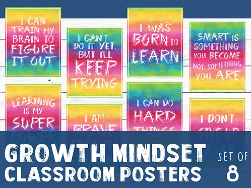 Growth mindset, printable classroom posters, rainbow watercolor