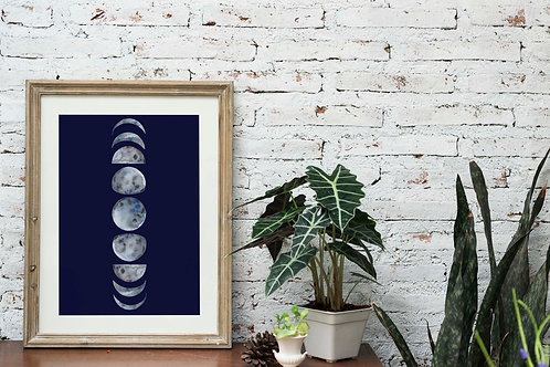 moon phases celestial printable art decor aesthetic watercolor