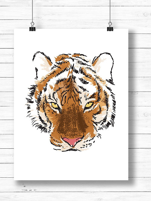 tiger face illustration, artist poster print, printable art