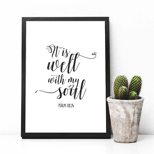 It is well with my soul, hymn lyrics print, hymn quote, calligraphy, printable art