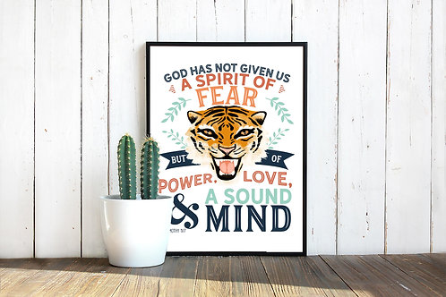 2 Timothy 1v7 Power Love Sound Mind | Printable art | Don't be afraid | coronavirus Covid19