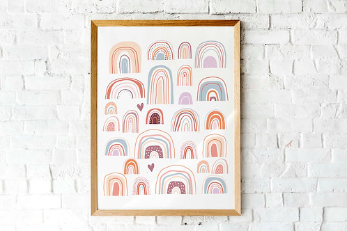 printable modern rainbow posters, terracotta neutral rainbow kids roomart