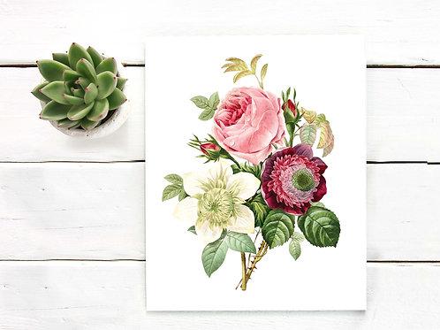 Vintage flowers | Printable art | vintage bouquet | illustration