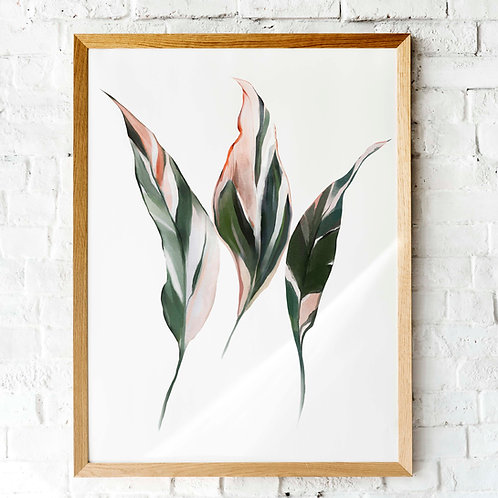Painted neutral terracotta blush leaves wall art printable