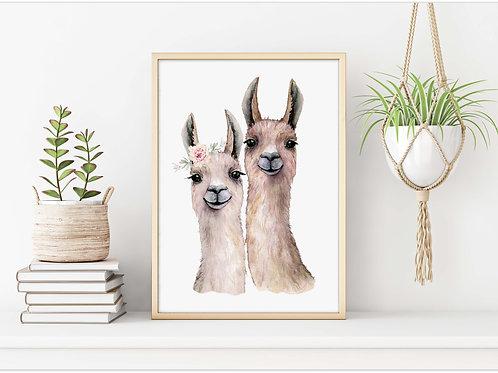Watercolor alpaca love