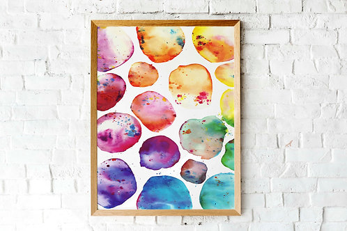 Rainbow bubbles bright decor living room art watercolor abstract