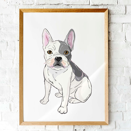 French Bulldog illustration printable art