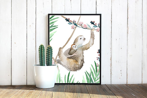 Watercolor sloth Mama and Baby illustration | Printable art