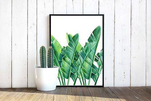 Watercolor banana leaves painting Printable art green watercolor