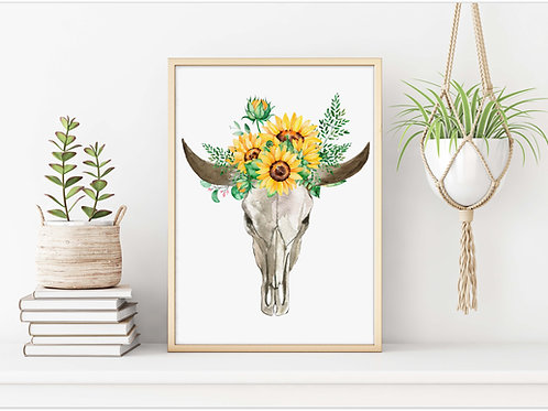 Watercolor painted sunflower bull skull| Printable art sunflowers painting rustic decor