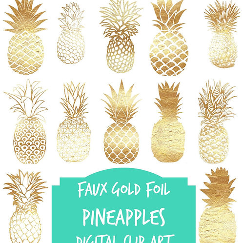 Digital clip art | Gold foil  pineapples | multi color | Instant download | Pineapples | faux gold foil metallic gold pineapp