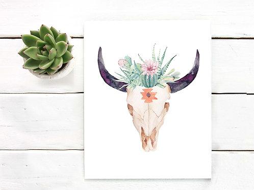 Skull watercolor cactus painting, bull skull art, printable art, artist poster print