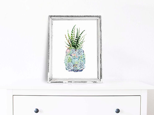 Succulent Pineapple watercolor | Printable art blue grey cactus succulent cacti botanical art print