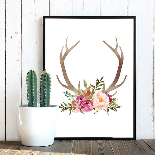 Watercolor Antlers flowers print Printable Antlers wall art Valentine gift art print Watercolor Antlers flowers print pink wa