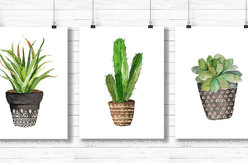 Painting of cactus in pot, watercolor cactus painting, set of three