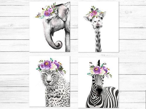 Nursery decor Zebra Giraffe Leopard Elephant watercolor flower crowns   Printable art Set of 4