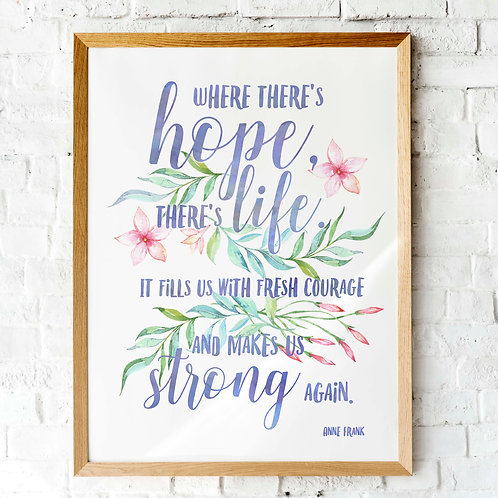 Printable Anne Frank Quote, watercolor, where there's hope there's life