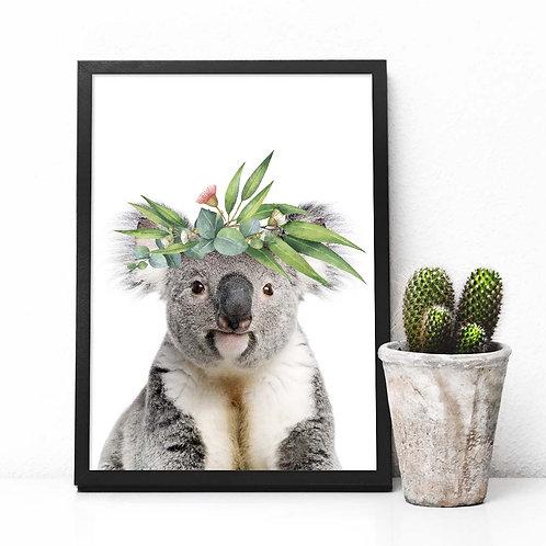 Koala with Eucalyptus crown | Printable poster