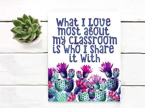 PRINTABLE ART, CLASSROOM ART, TEACHER GIFT, cactus, watercolor, WALL ART