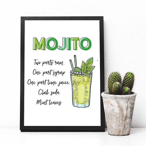 Mojito Cocktail recipe art print, Printable Bar decor