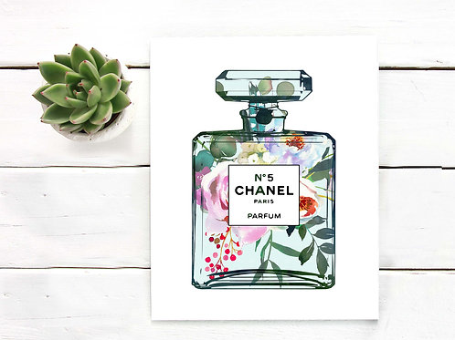Perfume bottle floral watercolor painting