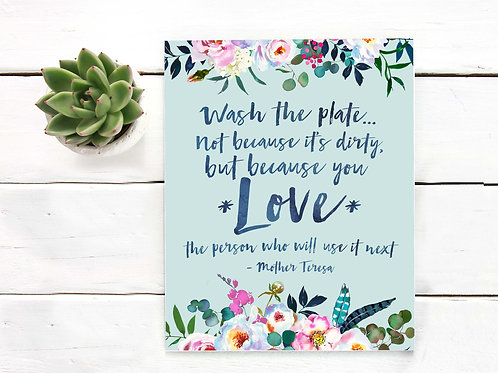 Wash the plate art print, mother teresa, watercolor
