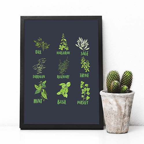 Kitchen herbs poster | Printable herbs cooking kitchen decor chef gift printable wall art