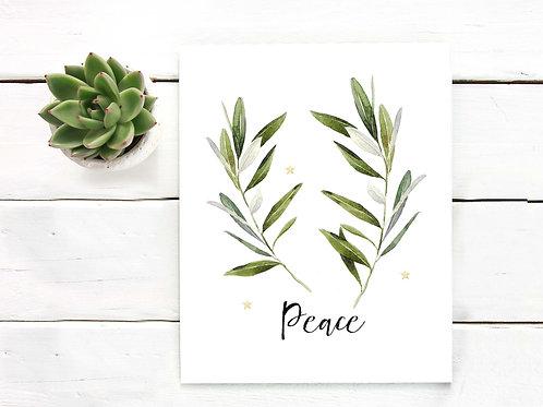 watercolor, peace, watercolor olive branch, christmas decor, christmas wall art, holiday art print, holiday wall art, peace