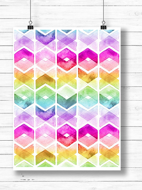 Abstract rainbow watercolor chevron pattern | Printable art