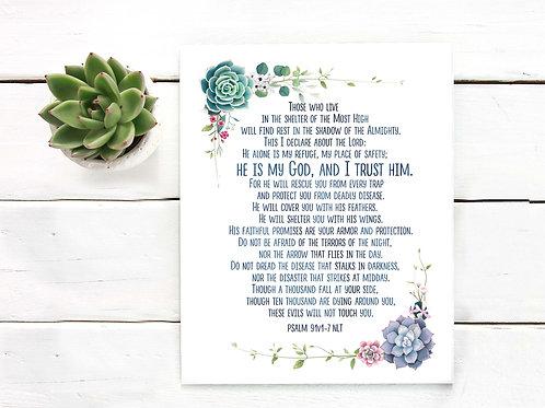 Succulents Watercolor Psalm 91 Scripture printable