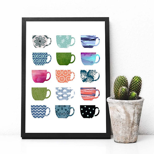 Coffee cups poster | printable art coffee collage art print kitchen decor wall art