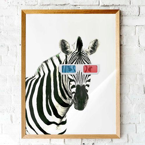 zebra wearing 3D movie glasses | printable art