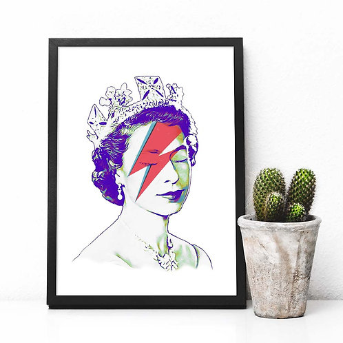 printable art, wall art, affordable art, art print, queen elizabeth, pop art, punk art
