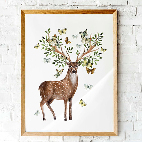 Watercolor deer with butterfly antlers | Printable art