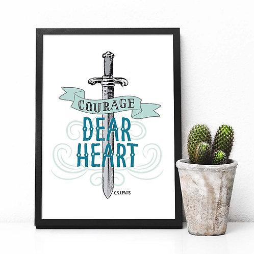 narnia, CS Lewis, courage dear heart, courage, sword, kids room decor, wall art, art print