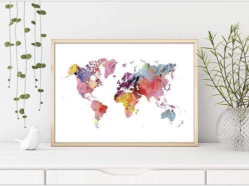 Rainbow Watercolor world map print Printable wall art Printable Geography cartography wall art rainbow world map geography pr